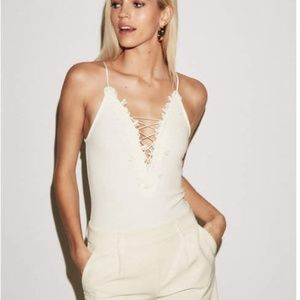 Express Cream Lace up Body Suit Ribbed Small